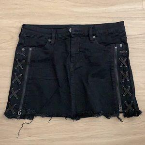 Blank NYC Lace Up Denim Mini Skirt